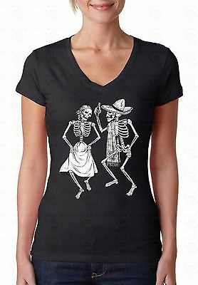 Skeletons Dancing V-NECK WOMEN T-Shirt Day Of Dead Halloween Party Ladies Shirt - Halloween Party Day