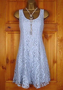 NEW-LADIES-MISS-SELFRIDGE-POWDER-BLUE-FLORAL-LACE-SUMMER-TEA-PARTY-SKATER-DRESS