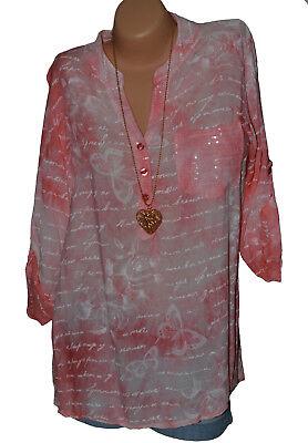 Italy Tunika Bluse Shirt Viskose Hemd Schmetterling Geblümt 38 40 42 (N°58) ()
