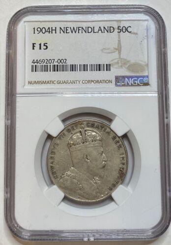 1904 H Newfoundland Half Dollar 50C NGC F15