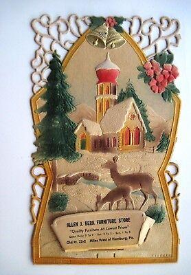 Charming Vintage Christmas German Pulp Advertising Calendar Topper w/ Church * ()