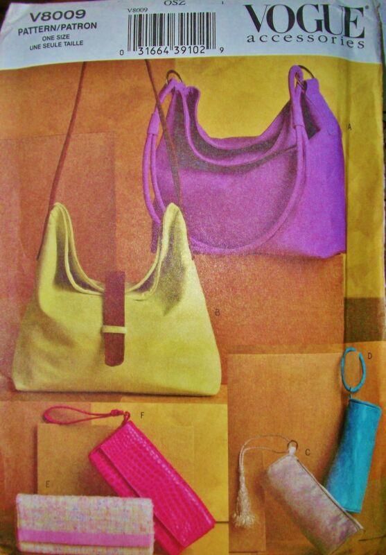 Vogue 8009 Pattern Accessories PURSE Handbag 6 Styles  UNCUT Factory Folds