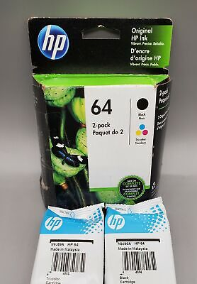 HP 64 X4D92AN Combo Ink Cartridge - 2 Pack ( 1-black / 1-color) Genuine