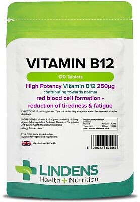 Vitamin B12 250mcg 120 Tablets HIGH Potency for Tiredness & Fatigue Lindens