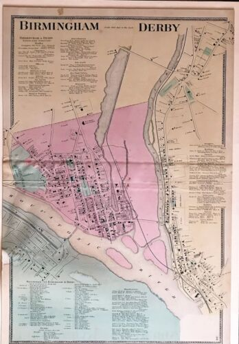 Derby CT 1868 Map Original with Homeowners Names and Business Directories Shown