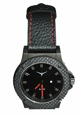 ZINVO Men's Luxury Watch Carbon fibre finish + Black Leather Strap in Gift - Black Leather Strap Gift Box