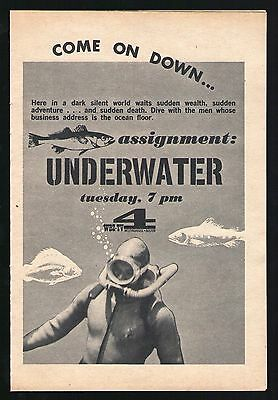 1962 Wbz Tv Ad Assignment Underwater Scuba Diving Television Series Come On Down