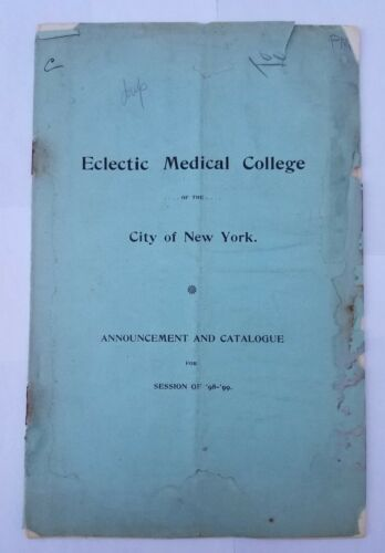 1898 Eclectic Medical College New York-Catalog Book- Greenwich Village Antique