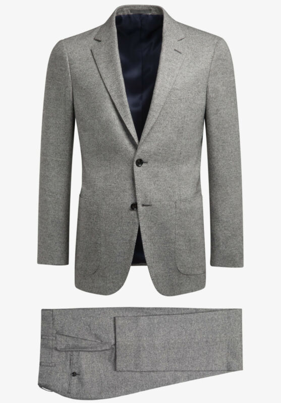 SuitSupply Havana Light Gray Wool Silk Cashmere Suit 36S