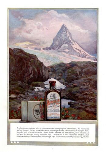 Cough syrup Sirolin XL 1909 ad Matterhorn Mountain Switzerland La Roche Basel