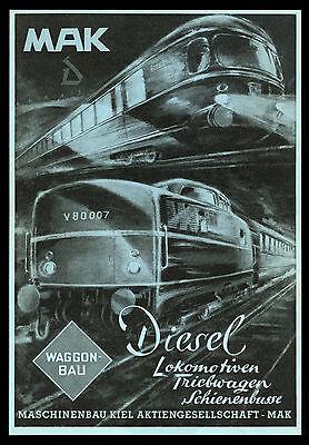 Grosse Reklame 1953 MAK Lokomotiven Triebwagen Schienenbus Maschinenbau Kiel