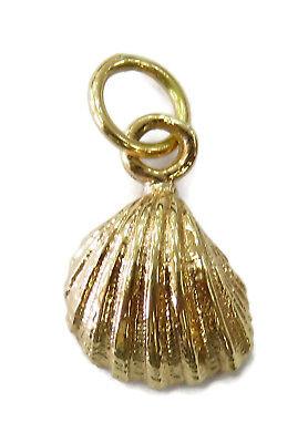 14K Yellow Gold Scallop Shell Seashell Charm Necklace Pendant ~ 1.3g 14k Scallop Shell Charm