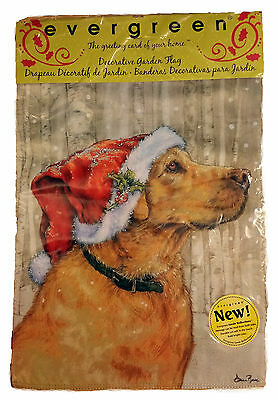 GOLDEN LAB RETRIEVER SANTA CAP DOG FLAG~SIZE 12x18 MINI FLAG~NEW ()