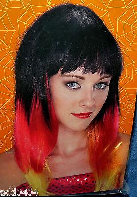 Halloween Wig Tips (Color Tips wig - black red blonde - 21