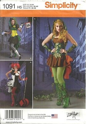 - SIMPLICITY 1091 MISSES' SIZE 6-14 HARLEY QUINN, JOKER, POISON IVY SEWING PATTERN