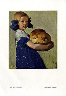 Fritz Gilsi, St. Gallen Mädchen mit Brotlaib Histor. Farb- Kunstdruck v.1912