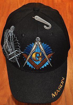New Embroidered Black Blue White Mason Masonic Lodge Cap Hat Freemasonry