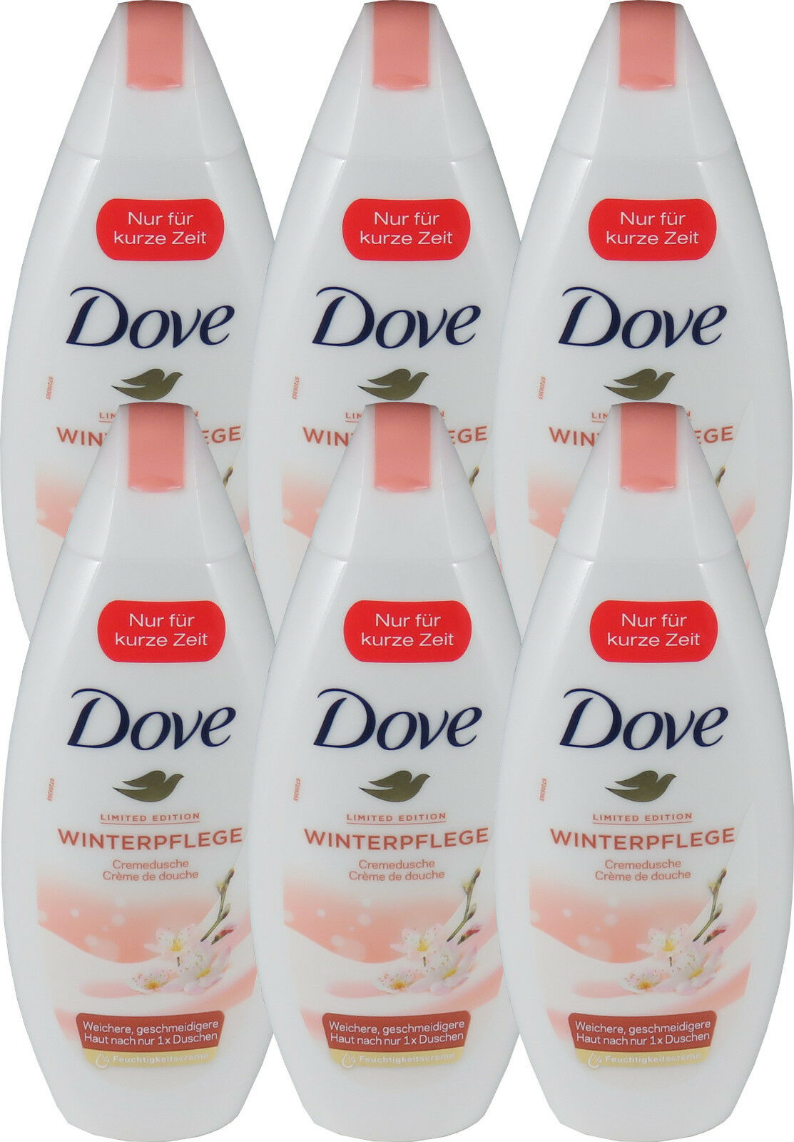 6 x 250 ml Dove Duschgel Limited Edition Winterpflege Cremedusche