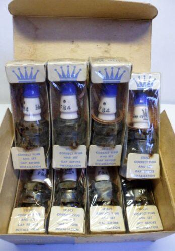 Vintage Box Blue Crown F 84 Spark Plugs NOS Box Of 8 Plugs