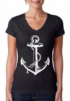 Anchor V-NECK WOMEN T-Shirt Ship Ocean Pirate Sailing Sea Cool Gift Ladies Shirt](Women Pirate Shirt)