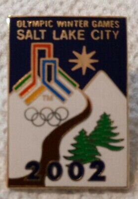 2002 Salt Lake City Olympic Pin Bid Logo Mountains Trees