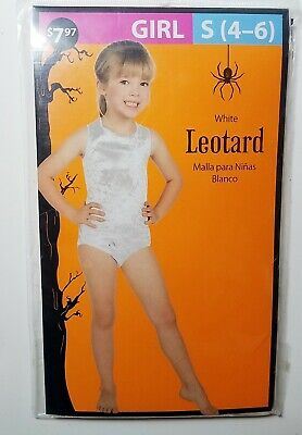 Girl's Dance Exercise Leotard Costume Halloween White NEW Size Small (4-6)