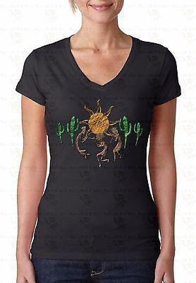 Kokopelli Sun Cactus V-NECK WOMEN T-Shirt Southwest Dance Indian Ladies Shirt