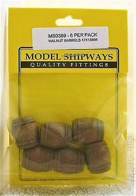 Model Shipways Fittings MS 0389. Walnut Barrels 17X15MM. 6 Per Pack. NEW.