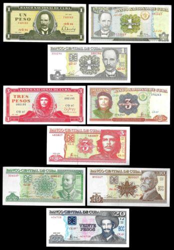 Lot of 9 banknotes $1,3,5,10,20 pesos. UNC. World Paper Money.