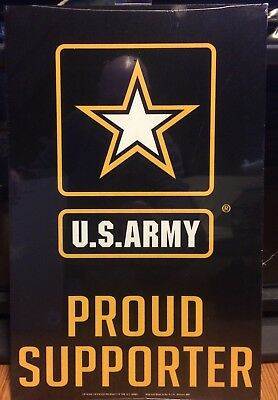 "U.S. ARMY PROUD SUPPORTER WOOD MILITARY SIGN 11"" X 17"" Brand New USA Made"