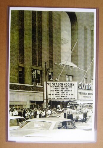The Beatles 1964 Detroit Olympia Marquee Concert photo 11 x 17 B&W Reproduction