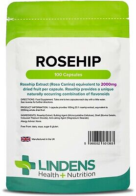 Rosehip 2000mg 100 Capsules Antioxidants Lindens UK