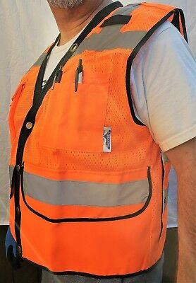 Superintedent Surveyor Class 2 Safety Vest Orange Small To 2-xl