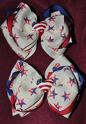 BOUTIQUE GIRLS PATRIOTIC BOWS NWT's  Handmade Custom FREE SHIPPING