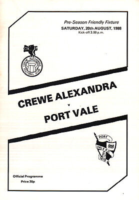 1988/89 Crewe Alexandra v Port Vale, friendly - PERFECT CONDITION