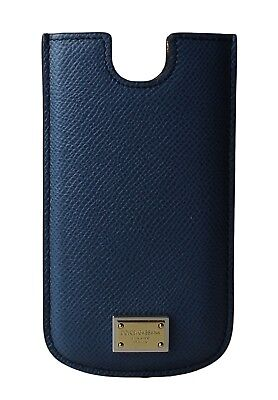 NEW $150 DOLCE & GABBANA Phone Case Cover Blue Gold Logo Leather 13x7,5 cm