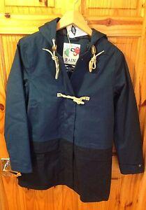 Seasalt Cornwall SeaFolly Tin Cloth Bowline Long Jacket Raincoat Size 10 Navy