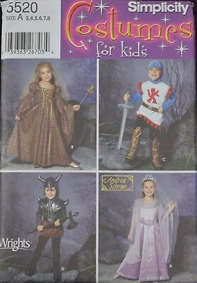 Simplicity5520-Child's Lil Princess, Knight, Warrior, Queen - Halloween Costume. (Halloween Costume Sewing Patterns)