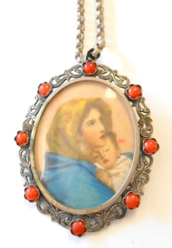 Antique Hand Painted Porcelain 800 Silver Coral Cameo Brooch Pendant Mary Jesus