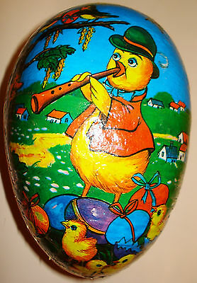 """Papier Mache Easter Egg Chickens Chicks Roosters Flowers 6"""""""