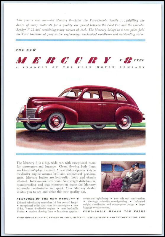 MERCURY 1939 v8 Type - Magazine Car / Automobile Print Ad A1