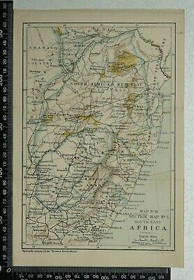 1896 Vintage Philip's Map - Orange Free State, South East  Africa