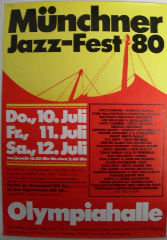 MUNICH JAZZ FEST CONCERT TOUR POSTER 1980 MILES DAVIS B B KING JOHN MACLAUGHLIN
