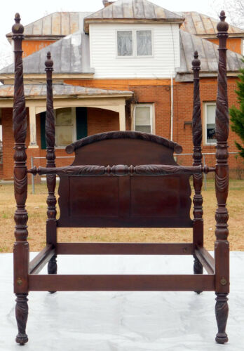 Solid Mahogany Federal  Empire Acanthus Carved Poster Bed~~Full~~19th Century