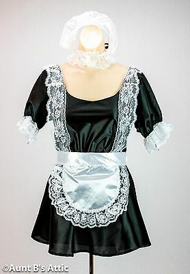 French Maid Sexy Black & White 6 Pc. Dress Headpiece Apron Choker Wrist Cuffs Md