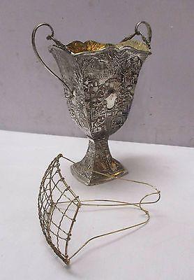 Antique Vtg Silverplate Metalware Embossed Vase / Flower Frog - Holland Ware