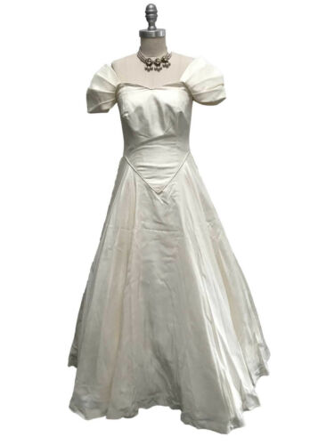 Vtg 70s Ivory Natural Raw Silk Wedding Gown Dress Princess Cut Handmade sz 2XS