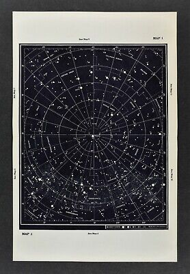 1961 Gall & Inglis Star Map Northern Hemisphere Sky Chart Polaris Cassiopeia