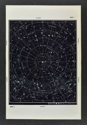 1961 Gall & Inglis Star Map Northern Hemisphere Sky Chart Polaris Cassiopeia