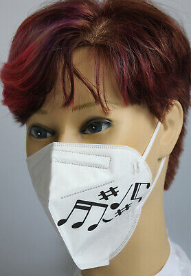 FFP2 Maske Atemschutzmaske weiß mit aufgedrucktem MUSIKNOTEN Motiv #15900/10